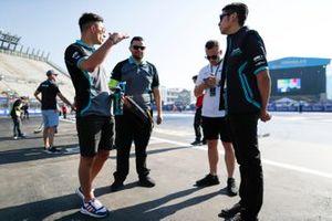 Ho-Pin Tung, Panasonic Jaguar Racing, with Mitch Evans, Panasonic Jaguar Racing on a track walk