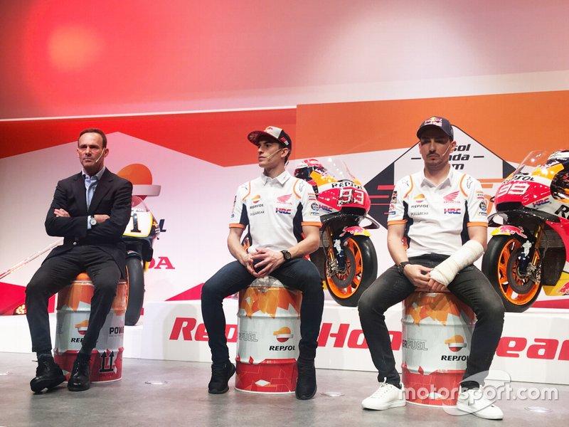 Marc Márquez, Jorge Lorenzo, Repsol Honda Team, y Alberto Puig, Team Principal Repsol Honda