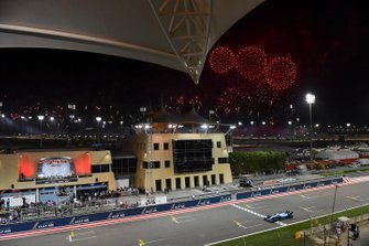 Fireworks light the sky at the end of the race as George Russell, Williams Racing FW42, crosses the line