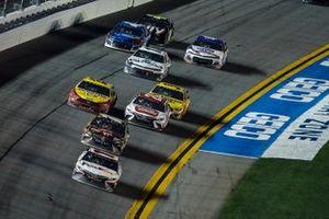 #11: Denny Hamlin, Joe Gibbs Racing, Toyota Camry FedEx Express leads