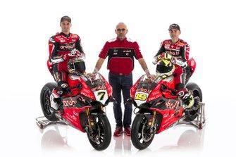 Chaz Davies, Aruba.it Racing-Ducati SBK Team, Alvaro Bautista, Aruba.it Racing-Ducati SBK Team et les membres de l'équipe