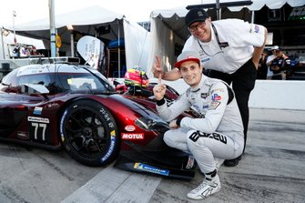 Motul Pole Award winner #77 Mazda Team Joest Mazda DPi, DPi: Oliver Jarvis with Mazda Director of Motorsports John Doonan