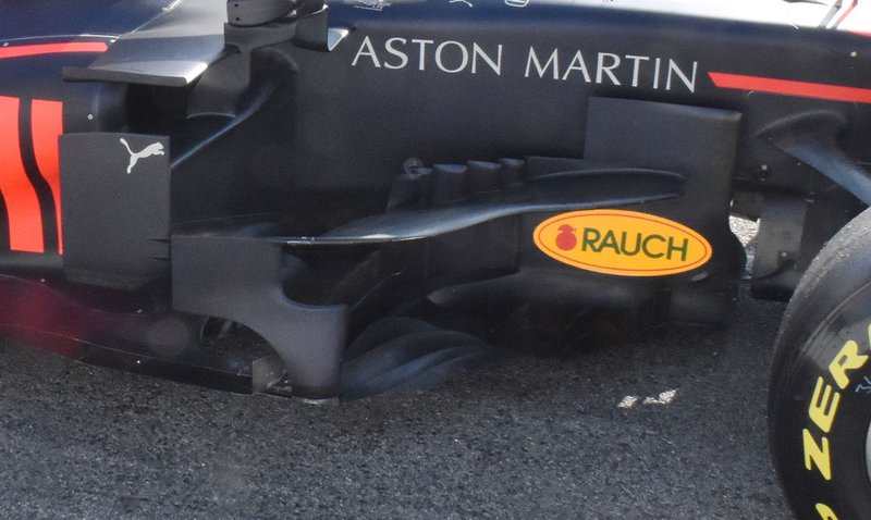 Detalle del pontón del Red Bull Racing RB15