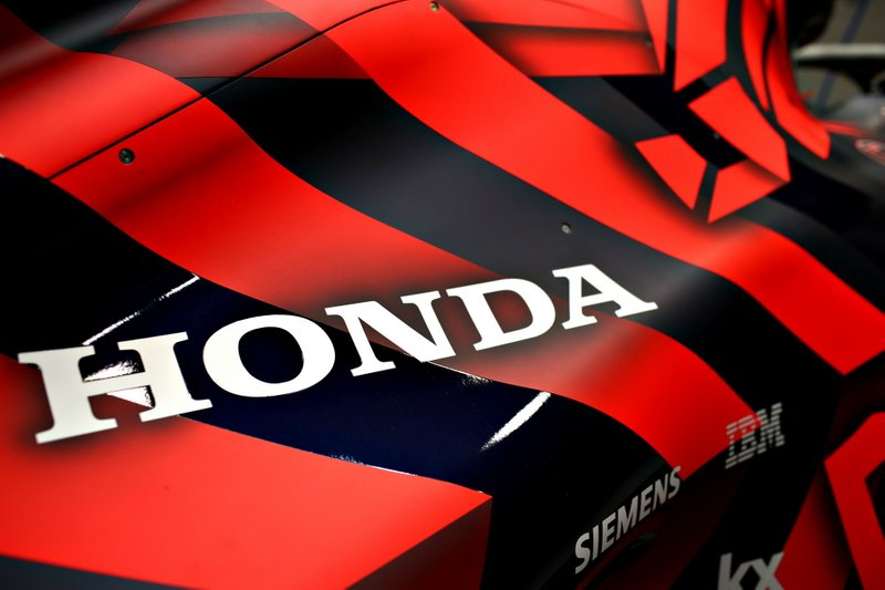Detail Shot of the Honda logo at the Red Bull Racing RB15