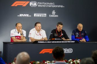 Frederic Vasseur, Team Principal, Alfa Romeo Racing, Zak Brown, McLaren Executive Director, Guenther Steiner, Team Principal, Haas F1, and Franz Tost, Team Principal, Toro Rosso, in the team principals Press Conference