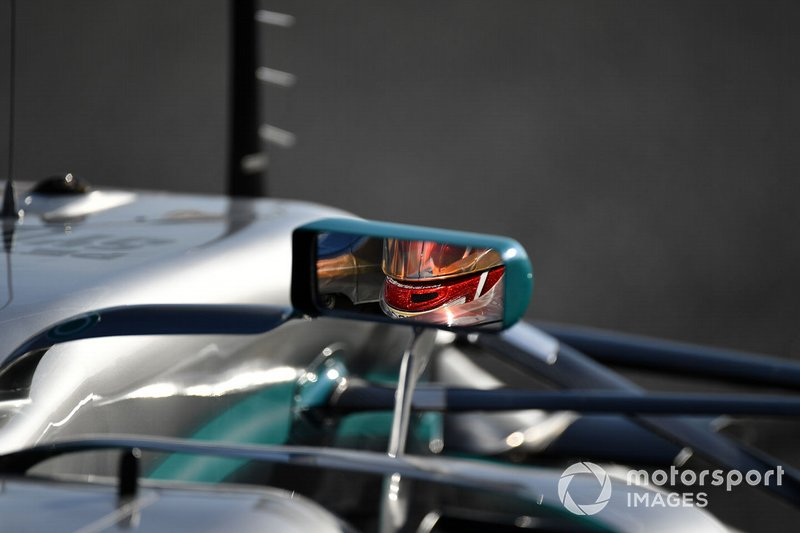 Lewis Hamilton, Mercedes-AMG F1 W10 EQ Power+ mirror reflection