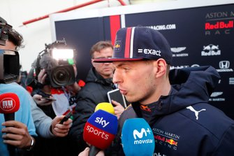Max Verstappen, Red Bull Racing talks with the media