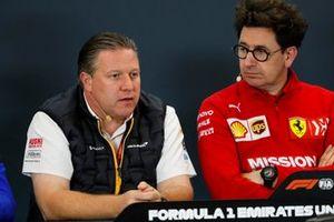 Zak Brown, Executive Director, McLaren, and Mattia Binotto, Team Principal Ferrari
