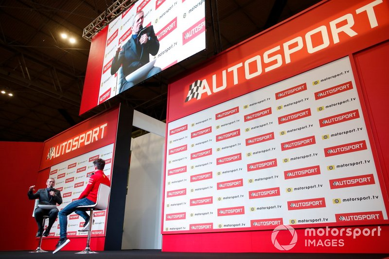 Presenter Stuart Codling interviews Charles Leclerc, Ferrari on the Autosport stage