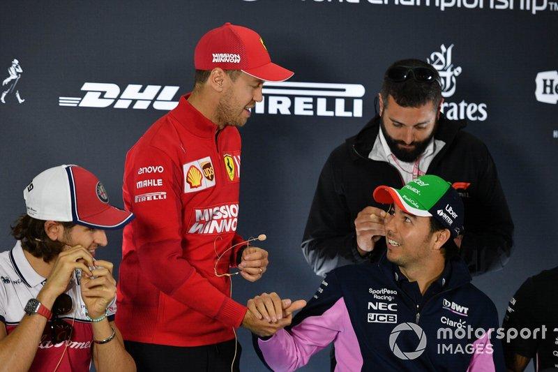 Antonio Giovinazzi, Alfa Romeo Racing, Sebastian Vettel, Ferrari et Sergio Perez, Racing Point, en conférence de presse