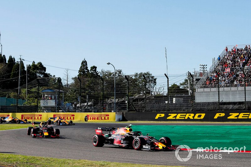 Max Verstappen, Red Bull Racing RB15, leads Alex Albon, Red Bull RB15, Carlos Sainz Jr., McLaren MCL34, and Lando Norris, McLaren MCL34, on the formation lap