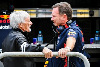 Bernie Ecclestone, Chairman Emiritus of Formula 1, and Christian Horner, Team Principal, Red Bull Racing
