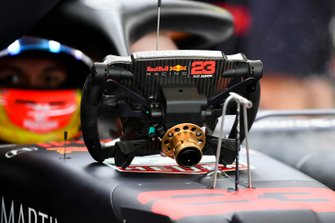 The steering wheel from the car of Alex Albon, Red Bull RB15
