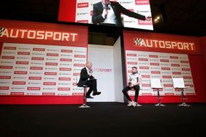 Presenter Alan Hyde interviews Seb Morris on the Autosport stage