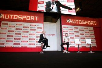 Presenter Alan Hyde interviews Seb Morris on the Autosport stage