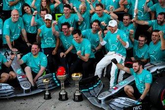 Valtteri Bottas, Mercedes AMG F1, 1st position, Lewis Hamilton, Mercedes AMG F1, 3rd position, and the Mercedes team celebrates after securing the 2019 Constructors Championship
