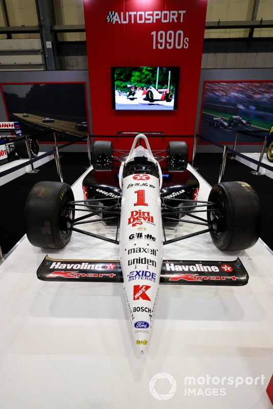 Nigel Mansell Lola Indycar on the Autosport stand