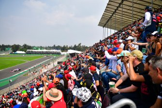 Fans cheer as Sergio Perez, Racing Point RP19, passes