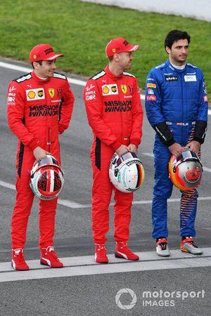Charles Leclerc, Ferrari, Sebastian Vettel, Ferrari and Carlos Sainz, McLaren