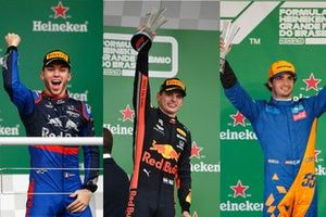 Pierre Gasly, Toro Rosso, 2nd position, Max Verstappen, Red Bull Racing, 1st position, and Carlos Sainz Jr, McLaren third position, on the podium