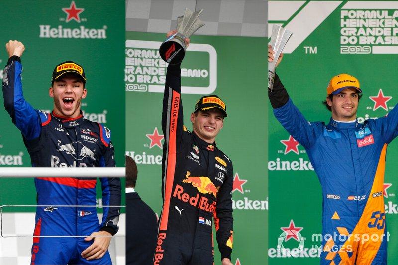 Con 23 años, 8 meses y 16 días, el penúltimo podio de esta década con Max Verstappen, Pierre Gasly y Carlos Sainz (virtualmente), es el de menor promedio de edad en la historia de la Fórmula 1.