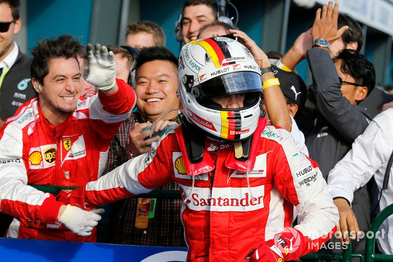 Terzo classificato Sebastian Vettel, Ferrari, al GP d'Australia del 2015
