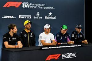 Romain Grosjean, Haas F1, Daniel Ricciardo, Renault F1 Team, Valtteri Bottas, Mercedes AMG F1, Sergio Perez, Racing Point and Robert Kubica, Williams Racing in the Press Conference