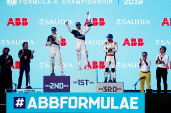Alexander Sims, BMW I Andretti Motorsports, BMW iFE.20, celebrates on the podium with Maximilian Gunther, BMW I Andretti Motorsports, BMW iFE.20, Lucas Di Grassi, Audi Sport ABT Schaeffler, Audi e-tron FE06