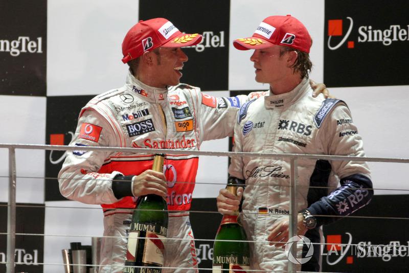 Lewis Hamilton, McLaren et Nico Rosberg, Williams fêtent leur podium