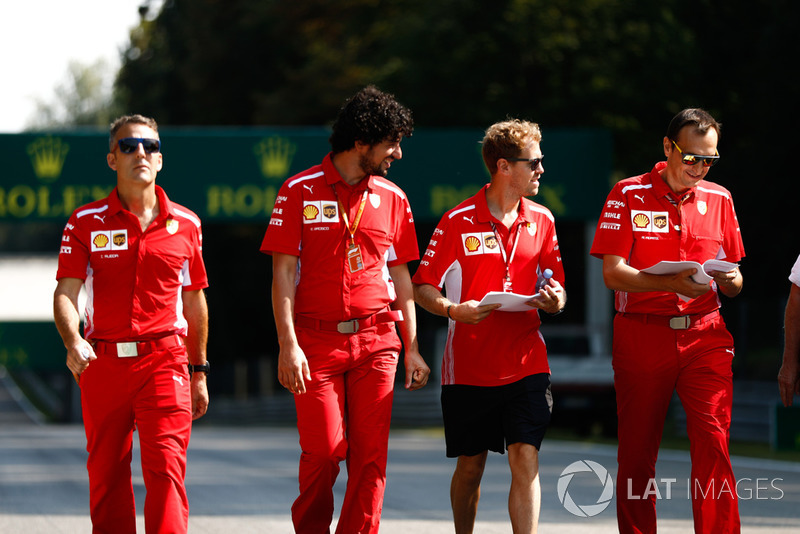 Sebastian Vettel, Ferrari, on a track walk