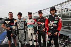 Podium: Race winner Jean-Karl Vernay, Leopard Lukoil Team Audi RS3 LMS TCR, second place Mikel Azcona, PCR Sport Cupra TCR, third place Josh Files, Hell Energy Racing with KCMG Honda Civic Type R TCR, Giovanni Altoè, Pit Lane Competizioni Audi RS3 LMS TCR