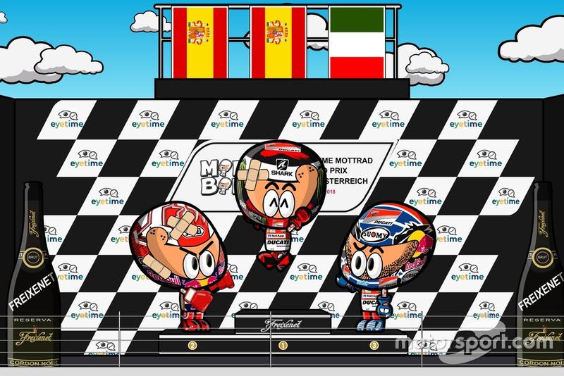 El podio del GP de Austria de MotoGP 2018, por MiniBikers