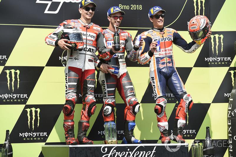 Podio: il vincitore della gara Andrea Dovizioso, Ducati Team, il secondo classificato Jorge Lorenzo, Ducati Team, il terzo classificato Marc Marquez, Repsol Honda Team
