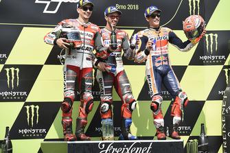 Podio: ganador de la carrera Andrea Dovizioso, equipo Ducati, segundo lugar Jorge Lorenzo, equipo Ducati, tercer lugar Marc Marquez, equipo Repsol Honda
