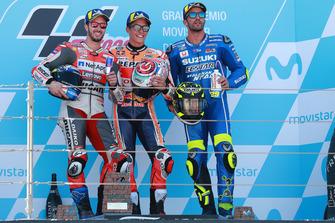 Podium : le vainqueur Marc Marquez, Repsol Honda Team, le deuxième Andrea Dovizioso, Ducati Team, le troisième Andrea Iannone, Team Suzuki MotoGP