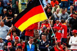 German flag flown by the tifosi for Sebastian Vettel, Ferrari