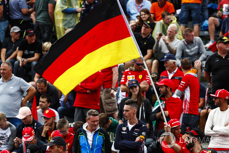 German flag flown by the tifosi for Sebastian Vettel, Ferrari