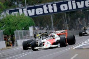 Keke Rosberg, McLaren MP4/2 TAG Porsche, Ayrton Senna, Lotus Renault