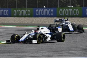 George Russell, Williams FW43, leads Nicholas Latifi, Williams FW43