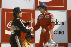Alain Prost, 1st position, Elio de Angelis, 3rd position, Keke Rosberg, 2nd on the podium