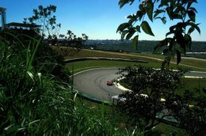 A lone Ferrari on the scenic Interlagos circuit