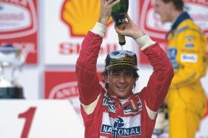 Ayrton Senna, McLaren Ford celebrates 1st position on the podium