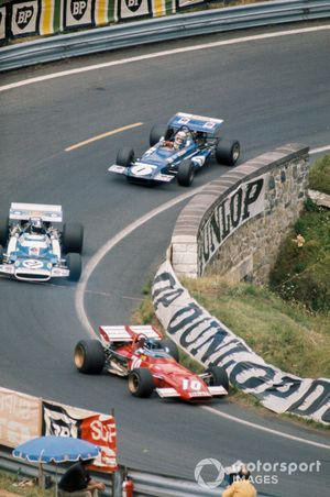 Jacky Ickx, Ferrari 312B leads Jean-Pierre Beltoise, Matra MS120 and Jackie Stewart, March 701 Ford