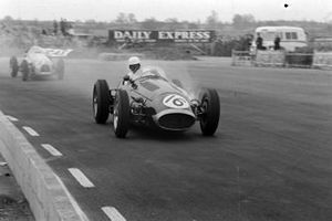 Jack Brabham, Maserati 250F, leads Hermano da Silva Ramos, Gordini T16