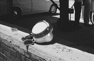 The helmet and gloves of Jackie Stewart