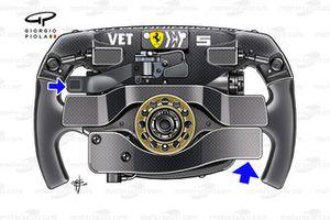 El volante del Ferrari SF90 de Sebastian Vettel