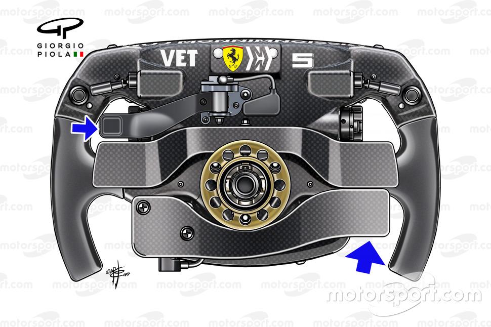 Il volante della, Ferrari SF90, di Sebastian Vettel