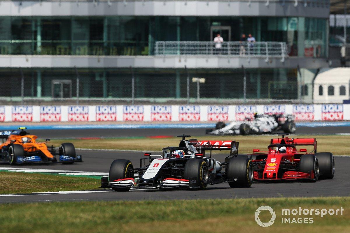 Romain Grosjean, Haas VF-20, Sebastian Vettel, Ferrari SF1000, Lando Norris, McLaren MCL35