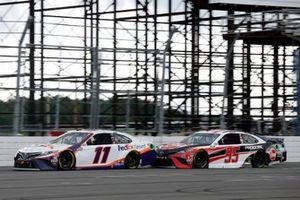 Denny Hamlin, Joe Gibbs Racing, Toyota Camry FedEx Ground and Christopher Bell, Leavine Family Racing, Toyota Camry Rheem