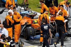 Lando Norris, McLaren MCL35, on the grid